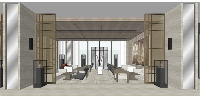 精品售楼处室内su模型设计(6)