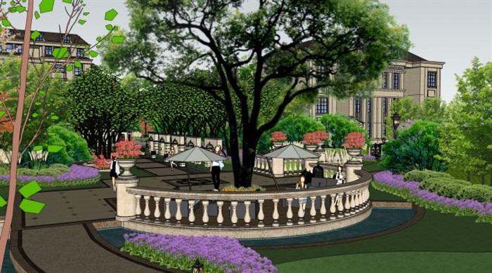 欧式住宅小区建筑与景观方案su模型[原创]