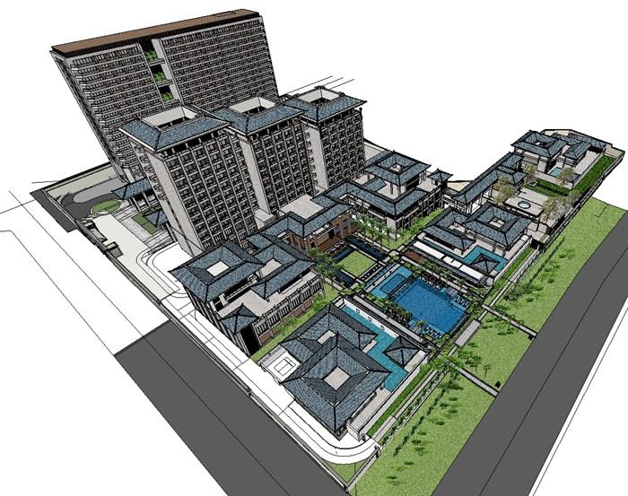 中式酒店建筑及泳池景观su模型[原创]图片