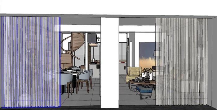 现代风格详细住宅室内素材设计su模型[原创]