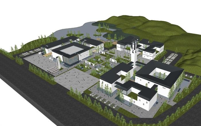 一個新中式規劃展覽館建筑方案SU模型(1)