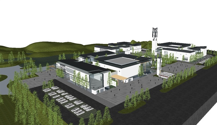 一個新中式規劃展覽館建筑方案SU模型(2)