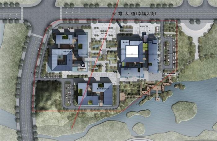一個新中式規劃展覽館建筑方案SU模型(4)