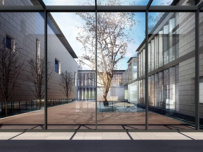 一個新中式規劃展覽館建筑方案SU模型(3)