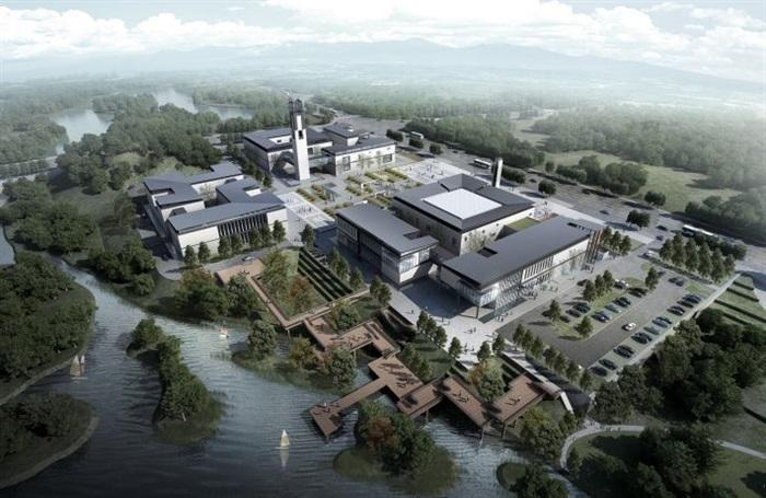 一個新中式規劃展覽館建筑方案SU模型(5)