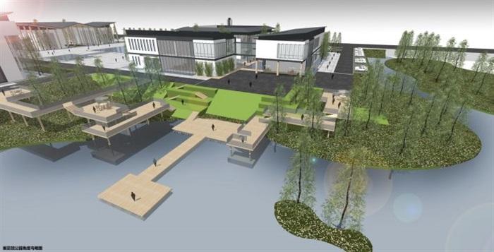 一個新中式規劃展覽館建筑方案SU模型(8)