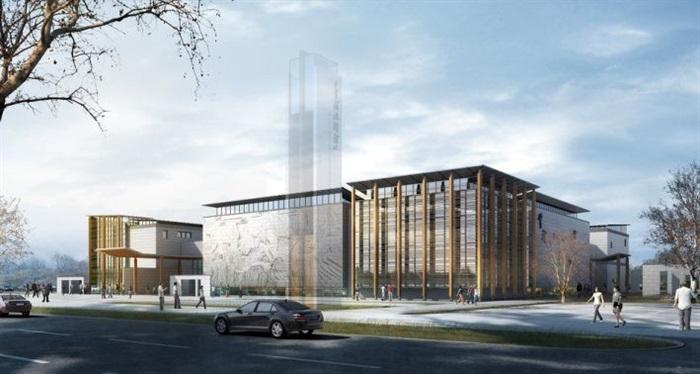 一個新中式規劃展覽館建筑方案SU模型(9)