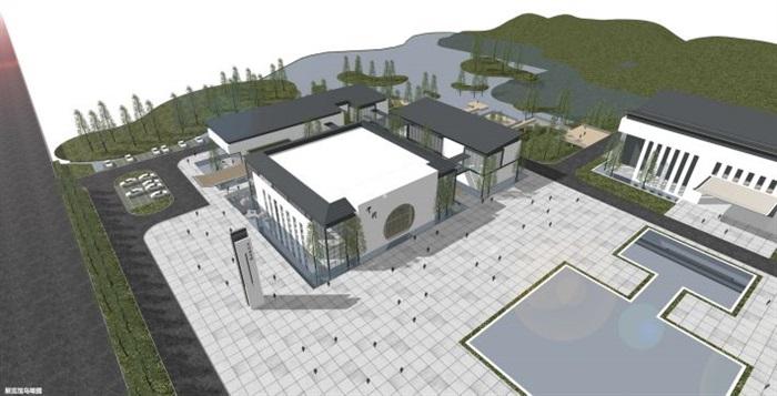 一個新中式規劃展覽館建筑方案SU模型(7)