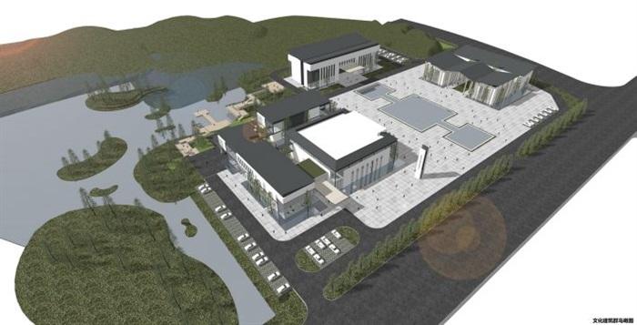 一個新中式規劃展覽館建筑方案SU模型(11)