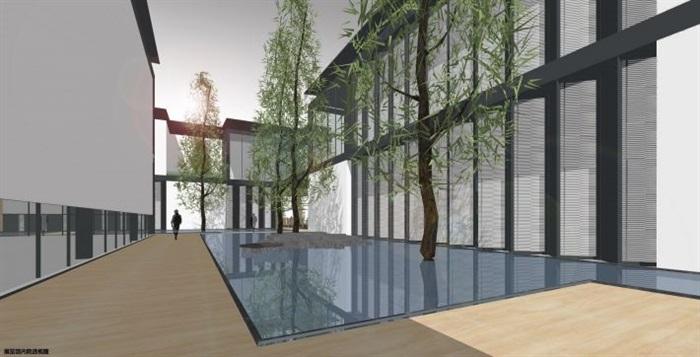 一個新中式規劃展覽館建筑方案SU模型(10)