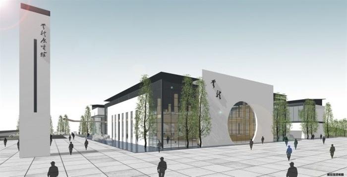 一個新中式規劃展覽館建筑方案SU模型(14)