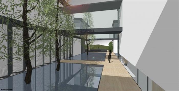 一個新中式規劃展覽館建筑方案SU模型(12)