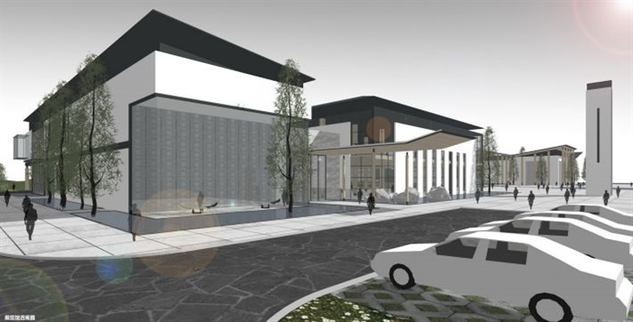 一個新中式規劃展覽館建筑方案SU模型(13)