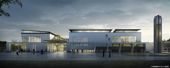一個新中式規劃展覽館建筑方案SU模型(15)