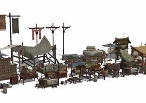 古典中式商业街街景摆件SU(草图大师)模型