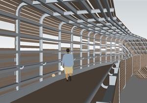 两座现代景观大桥SU模型