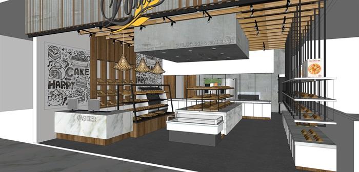 精品面包店室内su模型设计(1)