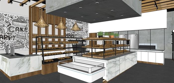 精品面包店室内su模型设计(2)