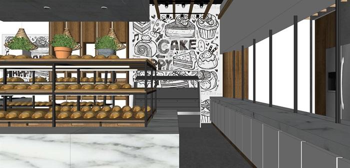 精品面包店室内su模型设计(3)