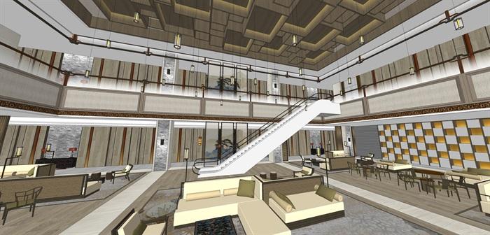 精品星级酒店大堂su模型设计(1)