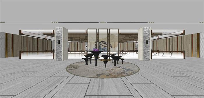 精品星级酒店大堂su模型设计(2)
