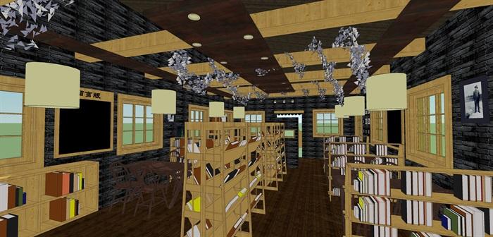 咖啡书吧室内装饰su模型设计(3)
