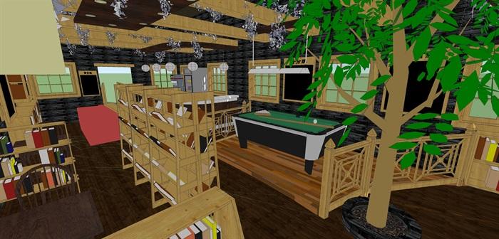 咖啡书吧室内装饰su模型设计(4)