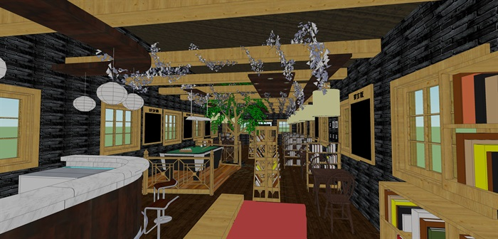 咖啡书吧室内装饰su模型设计(5)