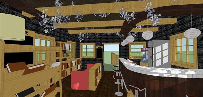 咖啡书吧室内装饰su模型设计(6)