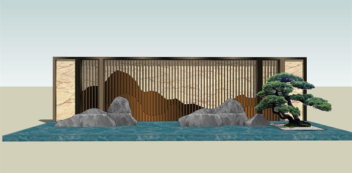 原创12款新中式禅意山水景观墙su模型(1)