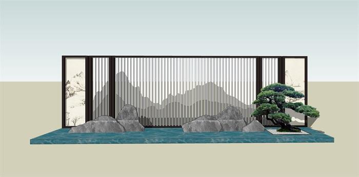 原创12款新中式禅意山水景观墙su模型(2)