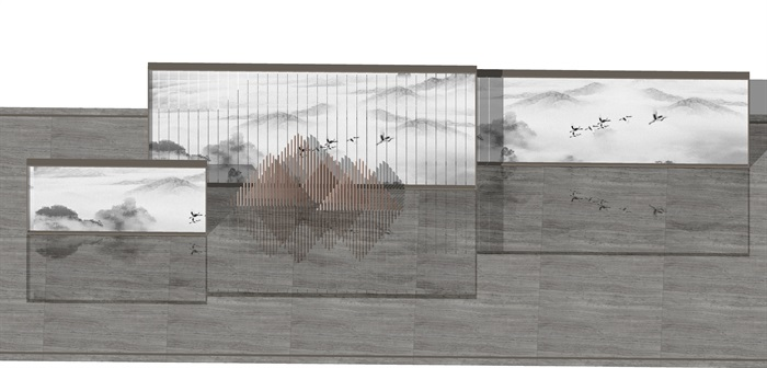 原创12款新中式禅意山水景观墙su模型(3)