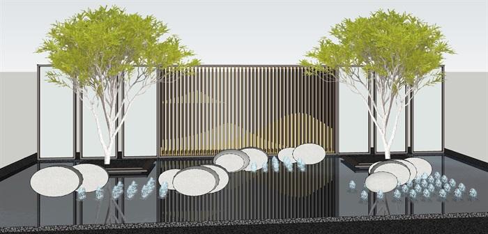 原创12款新中式禅意山水景观墙su模型(5)