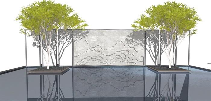 原创12款新中式禅意山水景观墙su模型(6)