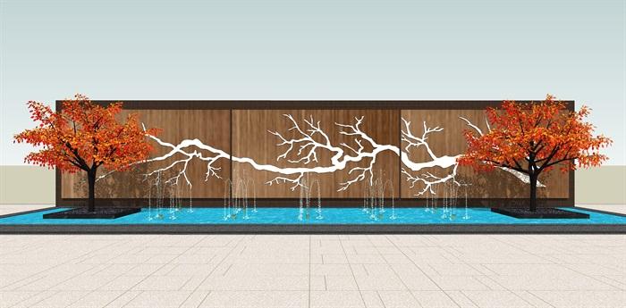 原创12款新中式禅意山水景观墙su模型(7)