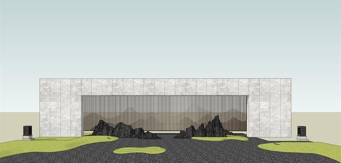 原创12款新中式禅意山水景观墙su模型(8)
