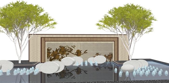原创12款新中式禅意山水景观墙su模型(9)