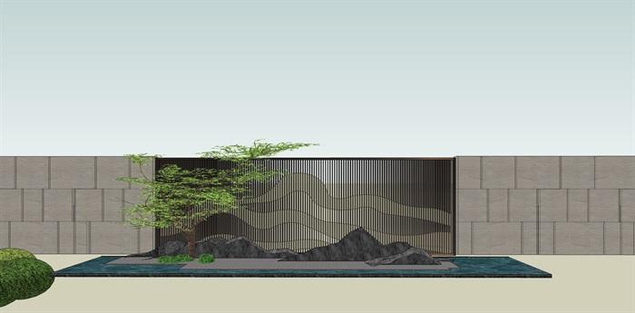 原创12款新中式禅意山水景观墙su模型(10)