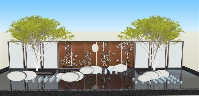 原创12款新中式禅意山水景观墙su模型(12)