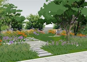 现代休闲绿地花园庭院景观SU(草图大师)模型