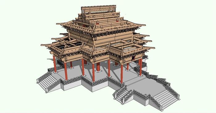 中国古建筑殿堂结构模型[原创]