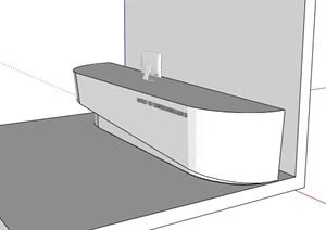现代风格公司、大楼前台精细模型