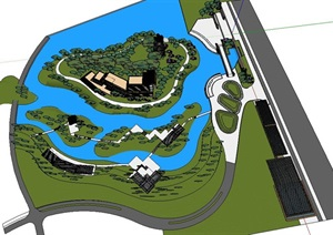 岛式水景园林景观会所活动中心