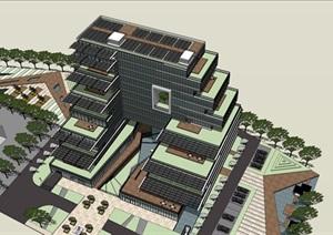 退台式新型绿色节能生态办公行政综合楼