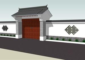 中式风格围墙,带入户大门