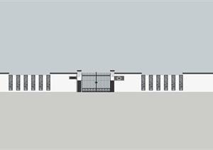 新中式风格围墙模型,带入户大门