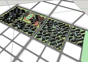大型斜列式有机水系景观开放式住宅小区规划设计