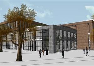 现代砖材质大学校区食堂学生服务活动中心