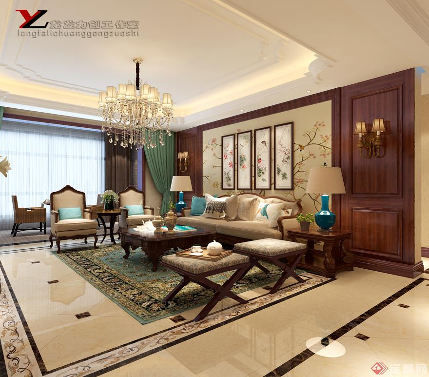 客廳 沙發背景墻 融僑城 美式風格 裝修效果圖