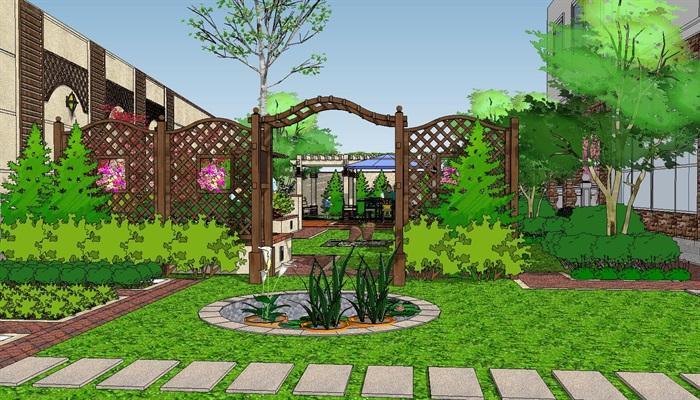 大师花园su模型现代主义草图别墅风格sketchup工价别墅v大师台[原创]庭院花园图片